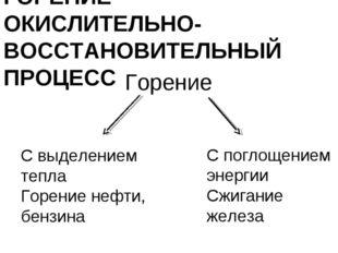 ГОРЕНИЕ - ОКИСЛИТЕЛЬНО- ВОССТАНОВИТЕЛЬНЫЙ ПРОЦЕСС Горение С выделением тепла