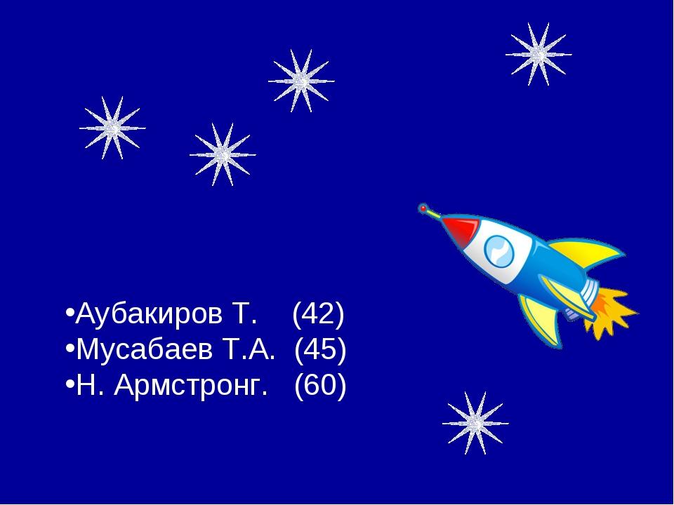 Аубакиров Т. (42) Мусабаев Т.А. (45) Н. Армстронг. (60)