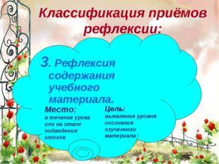 * 3. Рефлексия содержания учебного материала. Классификация приёмов рефлексии
