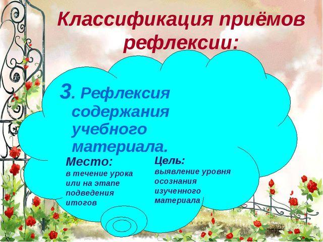 * 3. Рефлексия содержания учебного материала. Классификация приёмов рефлексии...