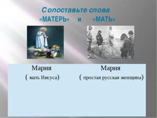 Сопоставьте слова «МАТЕРЬ» и «МАТЬ» Мария (мать Иисуса) Мария (простая русска