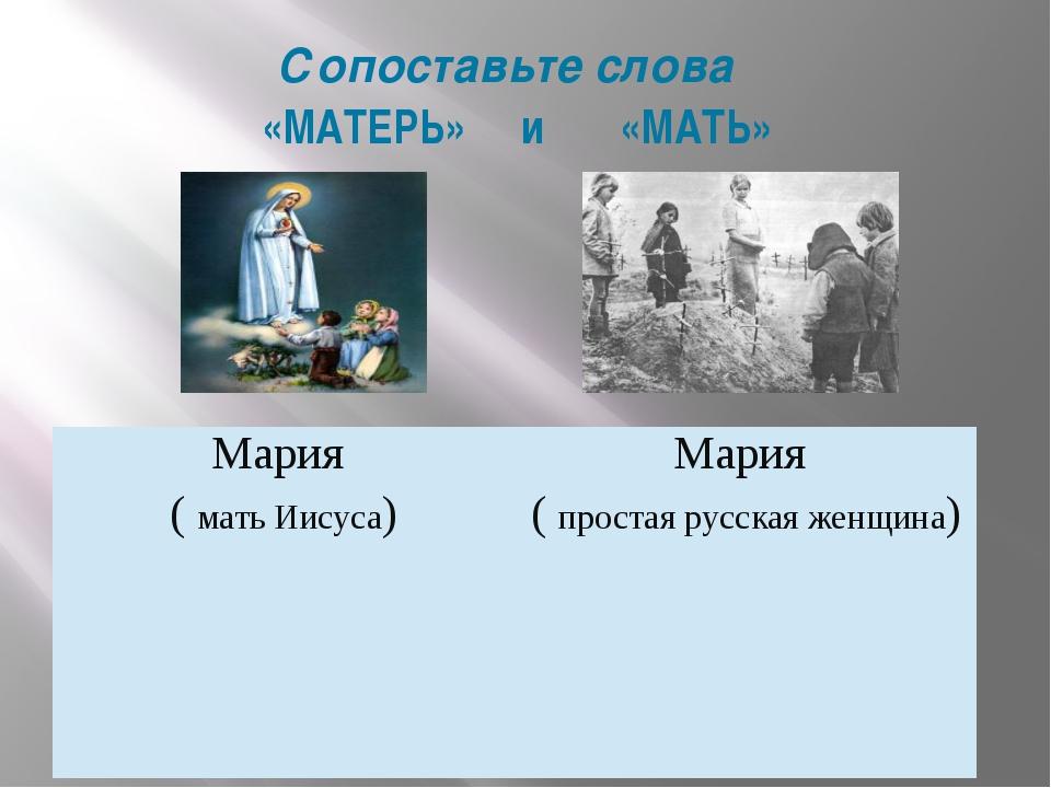 Сопоставьте слова «МАТЕРЬ» и «МАТЬ» Мария (мать Иисуса) Мария (простая русска...