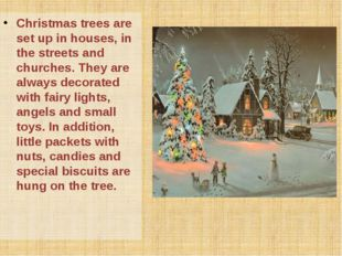 Christmas trees are set up in houses, in the streets and churches. They are a