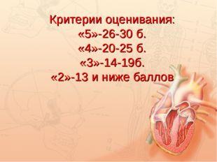 Критерии оценивания: «5»-26-30 б. «4»-20-25 б. «3»-14-19б. «2»-13 и ниже бал