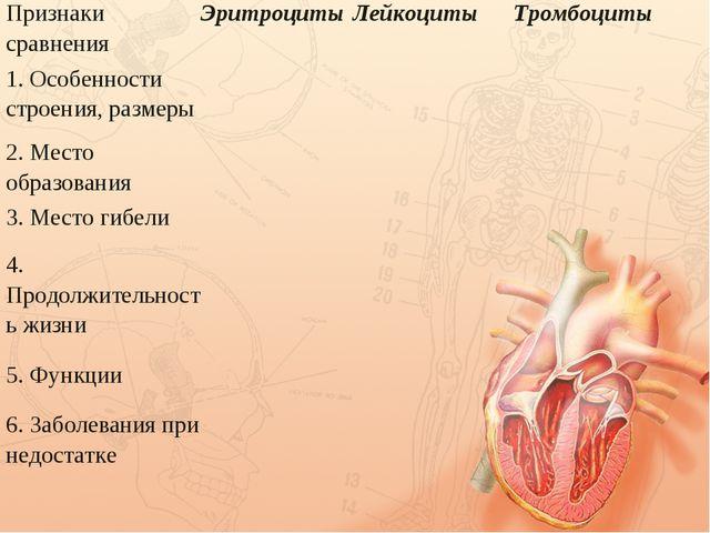 Признаки сравненияЭритроцитыЛейкоцитыТромбоциты 1. Особенности строения,...