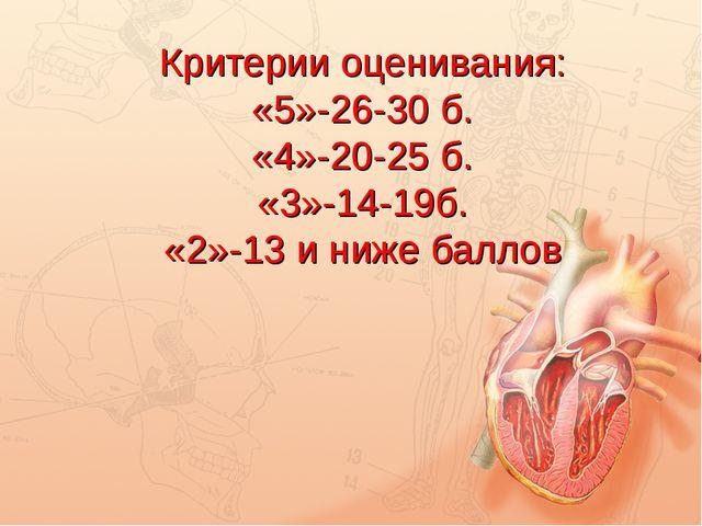 Критерии оценивания: «5»-26-30 б. «4»-20-25 б. «3»-14-19б. «2»-13 и ниже бал...