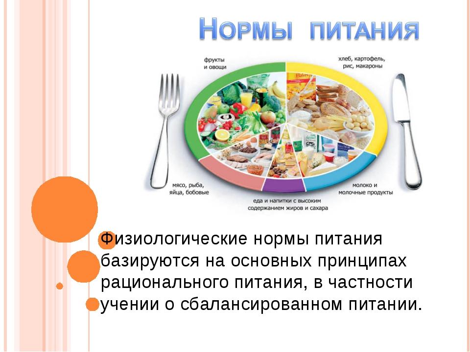 Физиологические нормы питания базируются на основных принципах рационального...