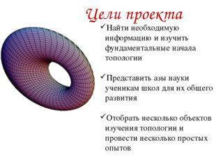 Цели проекта Найти необходимую информацию и изучить фундаментальные начала т