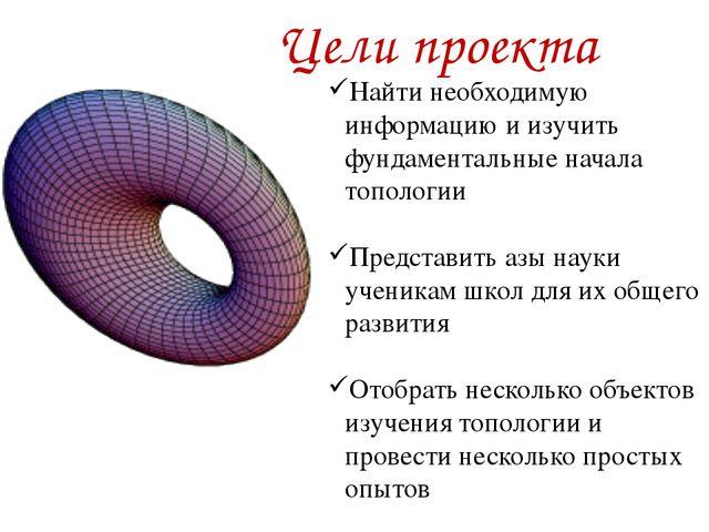 Цели проекта Найти необходимую информацию и изучить фундаментальные начала т...