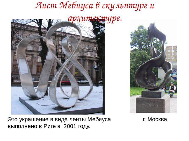 Это украшение в виде ленты Мебиуса выполнено в Риге в 2001 году. Лист Мебиуса...