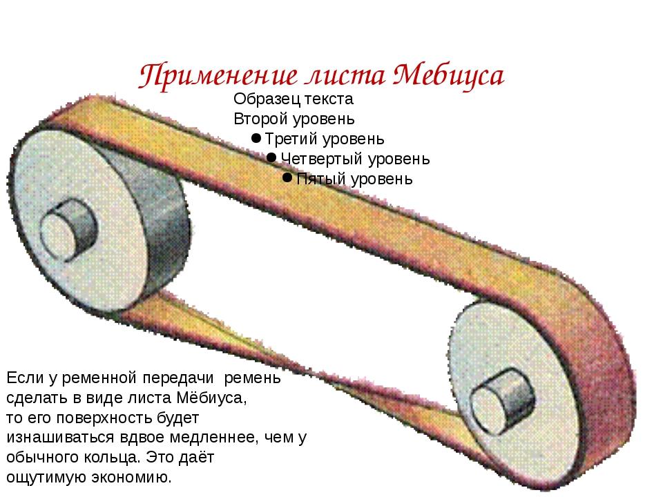 Если у ременной передачи ремень сделать в виде листа Мёбиуса, то его поверхн...