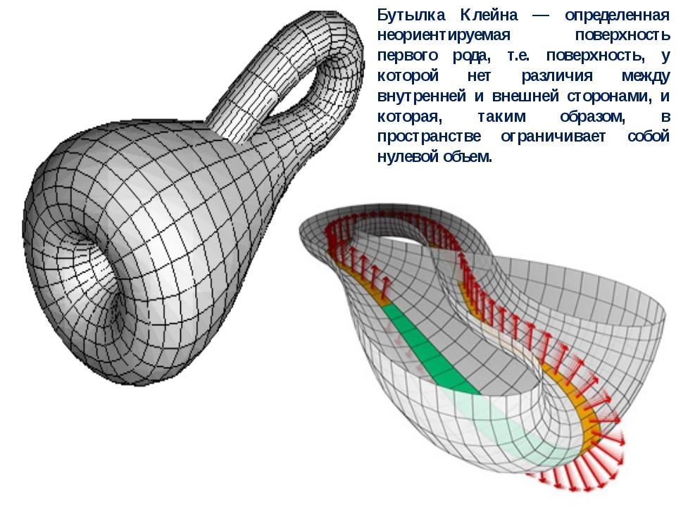 Бутылка Клейна — определенная неориентируемая поверхность первого рода, т.е....