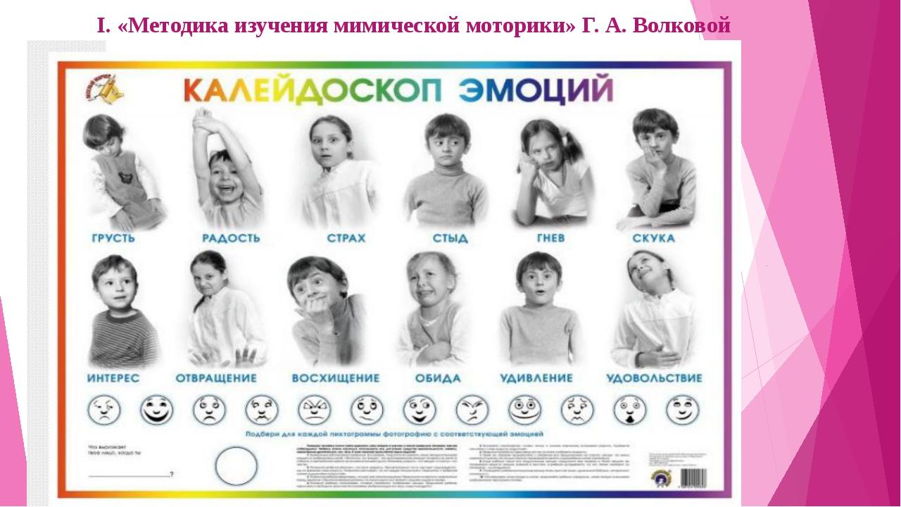 I. «Методика изучения мимической моторики» Г. А. Волковой