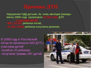 В 2008 году в Ростовской области произошло 620 ДТП с участием детей: -погибло