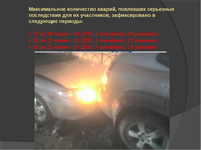 Максимальное количество аварий, повлекших серьезные последствия для их участн...