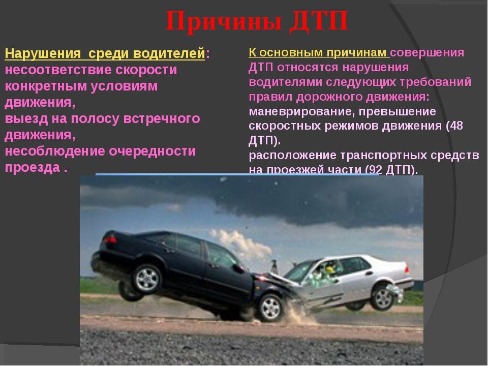 Нарушения среди водителей: несоответствие скорости конкретным условиям движен...