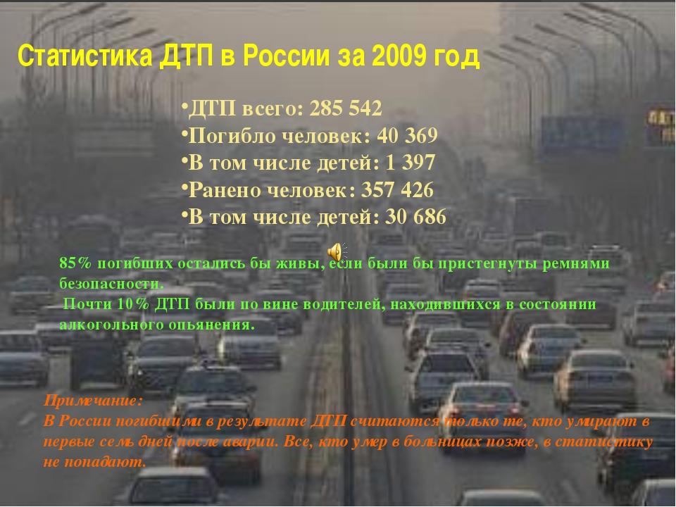 Статистика ДТП в России за 2009 год ДТП всего: 285 542 Погибло человек: 40 36...