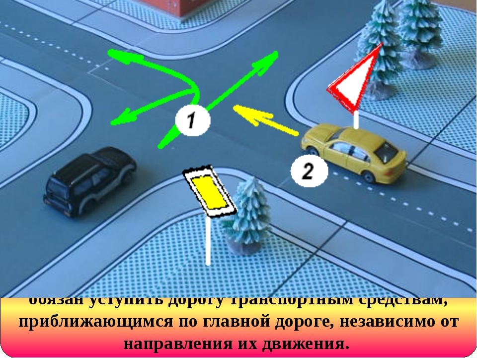 На перекрестке неравнозначных дорог водитель обязан уступить дорогу транспорт...