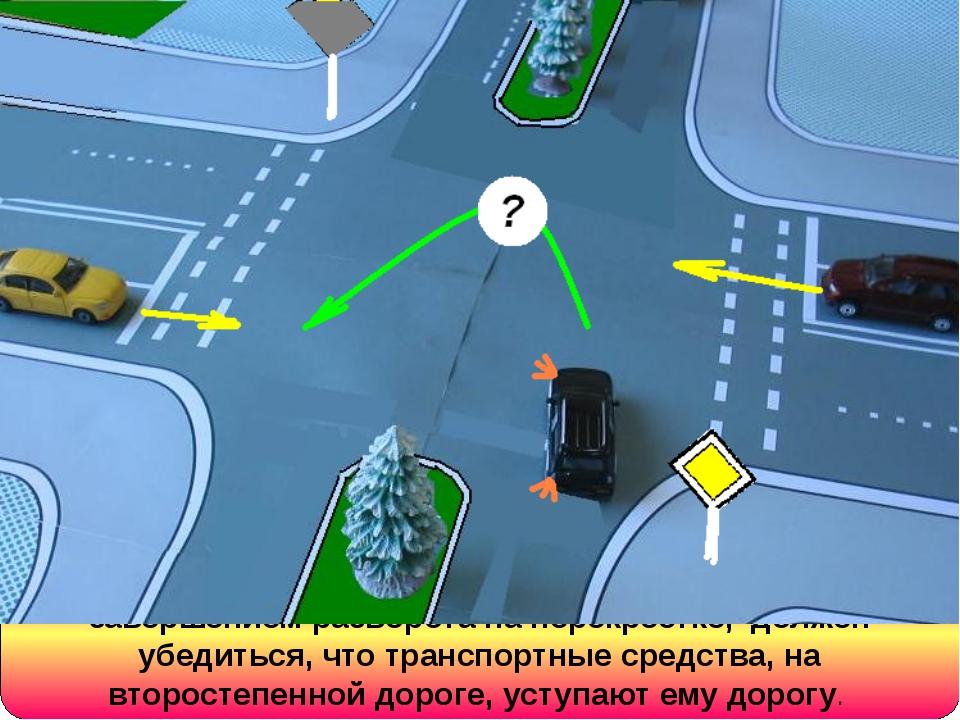 Водитель, движущийся по главной дороге, перед завершением разворота на перекр...