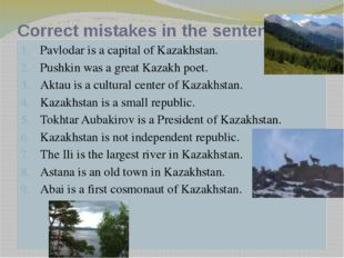 Correct mistakes in the sentences. Pavlodar is a capital of Kazakhstan. Pushk