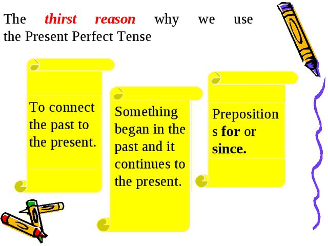 The thirst reason why we use the Present Perfect Tense