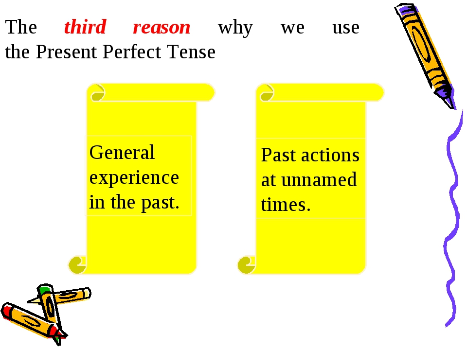 The third reason why we use the Present Perfect Tense