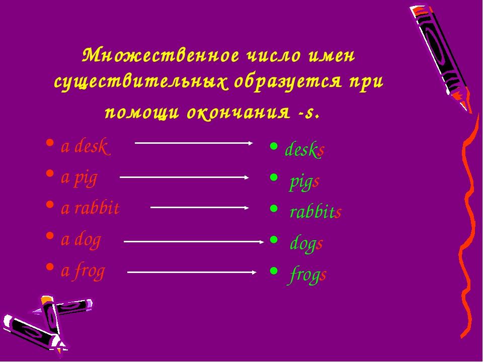 Множественное число имен существительных образуется при помощи окончания -s....
