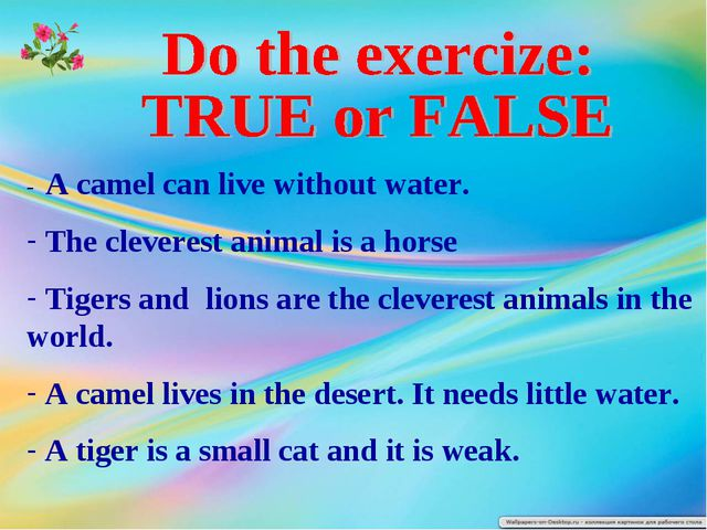 - A camel can live without water. The cleverest animal is a horse Tigers and...