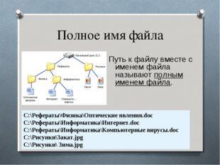 Полное имя файла Путь к файлу вместе с именем файла называют полным именем фа
