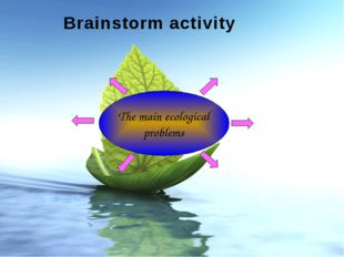 The main ecological problems Brainstorm activity Made by: Gubanova I. A. Coll