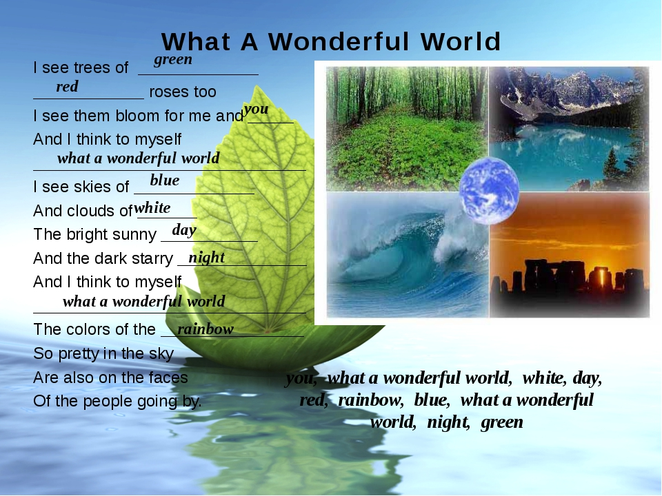 What A Wonderful World Made by: Gubanova I. A. College of service and new tec...