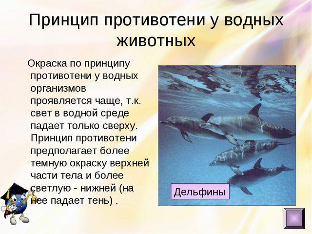 Принцип противотени у водных животных Окраска по принципу противотени у водны...
