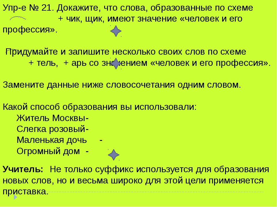 Упр-е № 21. Докажите, что слова, образованные по схеме + чик, щик, имеют зна...
