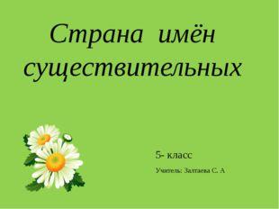 Страна имён существительных 5- класс Учитель: Залтаева С. А