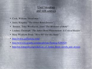 """Used literature and web sources Cook, William """"Novel man""""; Amis, Kingsley""""Th"""