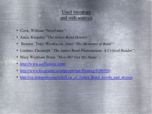 """Used literature and web sources Cook, William """"Novel man""""; Amis, Kingsley""""Th..."""