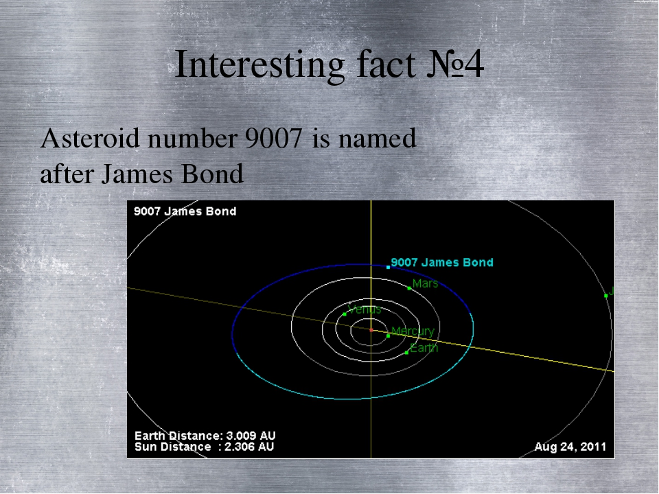 Interesting fact №4 Asteroid number 9007 is named after James Bond