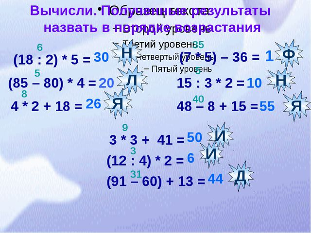3 * 3 + 41 = Вычисли. Полученные результаты назвать в порядке возрастания (1...