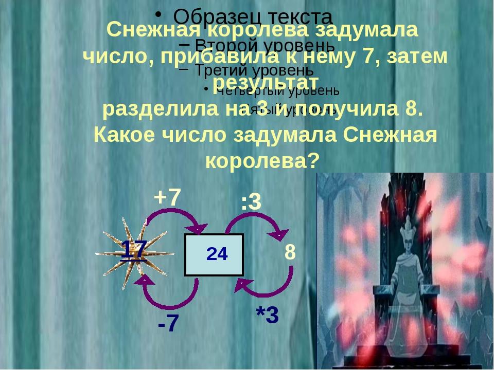 Снежная королева задумала число, прибавила к нему 7, затем результат раздели...
