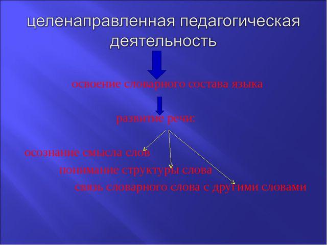 освоение словарного состава языка                              развитие речи...