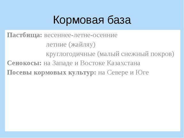 Кормовая база Пастбища: весеннее-летне-осенние летние (жайляу) круглогодичные...