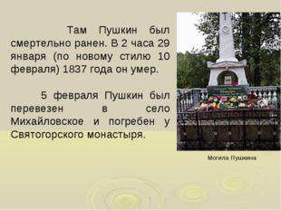Там Пушкин был смертельно ранен. В 2 часа 29 января (по новому стилю 10 февр