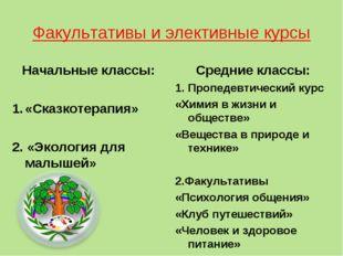 Факультативы и элективные курсы Начальные классы: «Сказкотерапия» 2. «Экологи