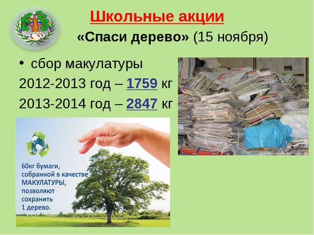 Школьные акции «Спаси дерево» (15 ноября) сбор макулатуры 2012-2013 год – 175...
