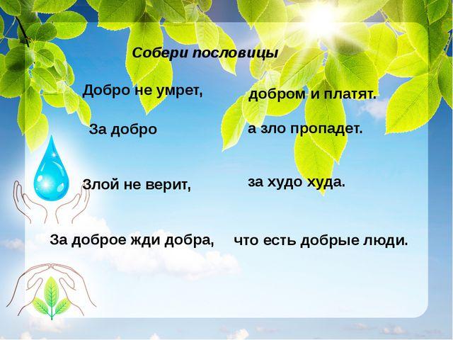 Собери пословицы Добро не умрет, За добро Злой не верит, За доброе жди добра...