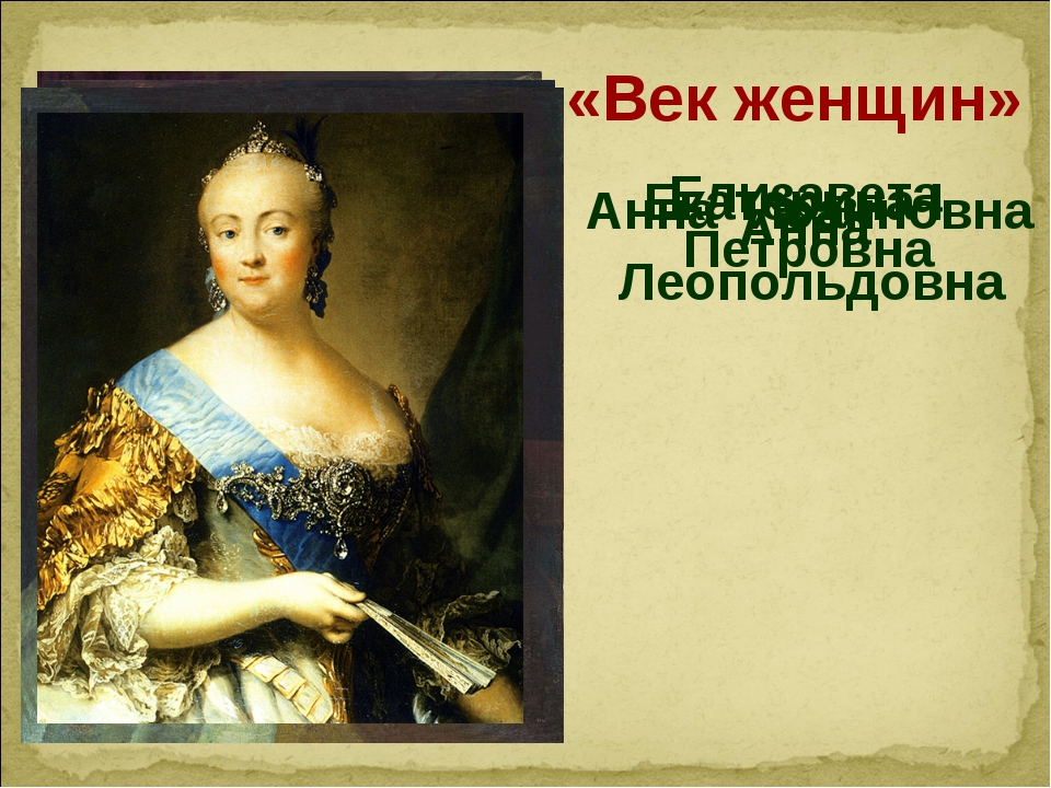 «Век женщин» Екатерина I Анна Иоанновна Анна Леопольдовна Елизавета Петровна