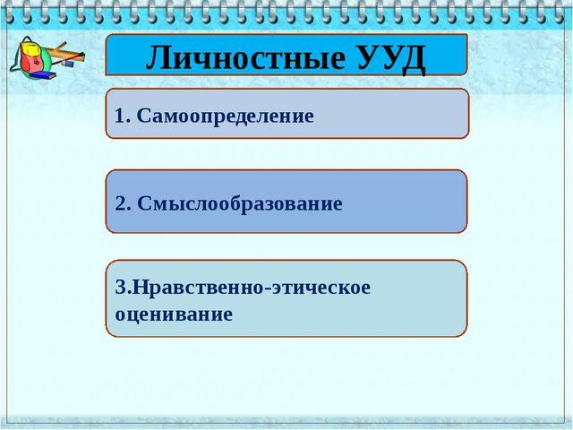 Личностные УУД 1. Самоопределение 2. Смыслообразование 3.Нравственно-этическ...