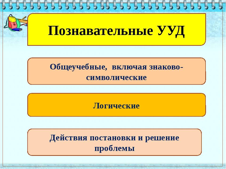 Познавательные УУД Общеучебные, включая знаково-символические Логические Дей...