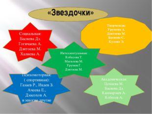 «Звездочки» Социальная: Басиева Дз. Гогичаева А. Дзитоева М. Халиева А. Твор