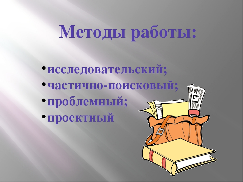 исследовательский; частично-поисковый; проблемный; проектный Методы работы:
